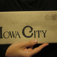 Hand Stenciled  Iowa City Cotton Canvas Envelope Clutch Bag   City Bag Purse