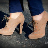 Bumper Exie-01 Natural Perforated Lace Up Oxford Bootie - Shoes 4 U Las Vegas