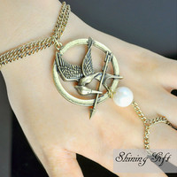 ON SALE-The hunger games Mockingjay Logo Pendant with Peeta Pearl Adjustable Bracelet and Ring-Brass