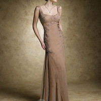 Sheath/Column Scoop Champagne Applique Chiffon Sleeveless Floor-length Dress at Dresseshop