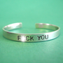 F-ck You Cuff Bracelet in Aluminum-Mature