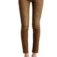 Leopard Mid-waist Slim Pants Yellow - Sheinside.com