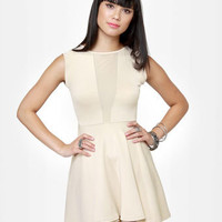 Sexy Cutout Dress - Beige Dress - Mesh Dress - $35.00