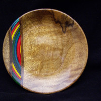 English Walnut Wood Plate with Rainbow Birch inlay