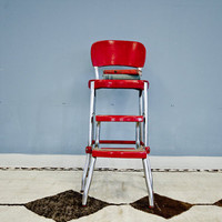 Retro Vintage Red Metal Step Stool by oldnewhouse on Etsy