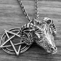 Ram Head Necklace Pentagram Necklace Pentacle Gothic Goth Occult Witch Craft Witchcraft Satanic Silver Ram Head Jewelry Baphomet Goat's Head
