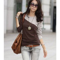 Long Sleeve Scoop Women Coffee Cotton Primer Shirt One Size @WH0384c $7.99 only in eFexcity.com.
