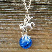 Unicorn Fantasy Blue Crackle Glass Marble Necklace