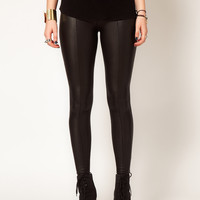 Hearts &amp; Bows Leather Look Seamed Leggings at asos.com