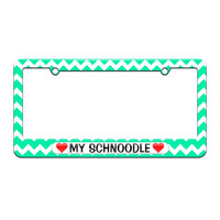My Schnoodle Love with Hearts - License Plate Tag Frame - Teal Chevrons Design
