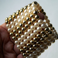 Wide Vintage Stretch Bracelet with Faux Pearls and Goldtone Beads