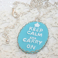 Blue Keep Calm Necklace, Keep Calm and Carry On Pendant on Silver long chain Necklace, Etsy Gift to Girlfriend, Mother, Sister