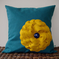 "Colorblock Mustard Yellow Flower Pillow in Teal Linen 16"" DECORATIVE PILLOW COVER by JillianReneDecor Vintage Inspired Retro Fall Home Decor"