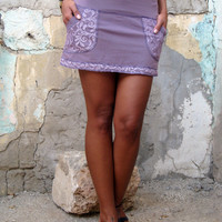 Mini skirt with lace pockets, purple mini skirt