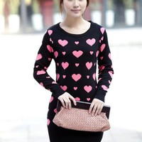 Fashion Round Neck Heart&Bow Pattern Women Sweater at Online Apparel Store Gofavor