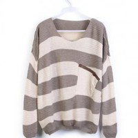 Gray Stripes Loose Sweater with Pocket - Designer Shoes|Bqueenshoes.com