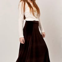 Velvet maxi skirt design, brown flowing skirt, must have maxi skirt  /// Made to order ///