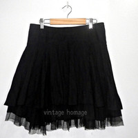 vintage Rocker or Goth fitted flare mini skirt in black with layered fabric & tulle (1990s)