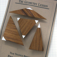 Brooches The Geometry Lesson Teak Geometric Triangle pins set of 4