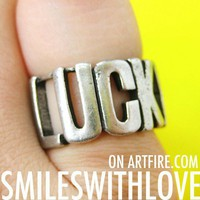 SALE Lucky Type Capital Letter Ring in Silver Sizes 6 to 8