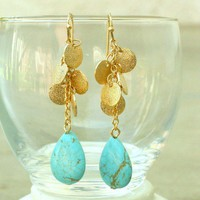 Tango with Turquoise Dangle Earrings [2325] - $14.00 : Vintage Inspired Clothing & Affordable Fall Frocks, deloom | Modern. Vintage. Crafted.