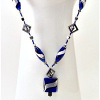 Blue and Silver Beaded Necklace with Pendant - D'Zign Jewelry