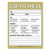 Go to Hell Nifty Note ? A Joke Message Pad by Knock Knock