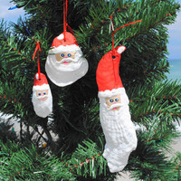 Oyster Shell Santa Ornaments | OceanStyles.com