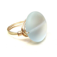 Aqua Sea Glass Ring:  Gold Wire Wrapped Jewelry, Seafoam Green, Mint Green Beach Jewelry, Size 8