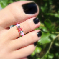 Toe Ring, Pink Tourmaline Mix Bead Toe Ring