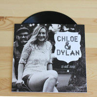 custom vinyl record with sleeve wedding invitation (authentic vinyl record)