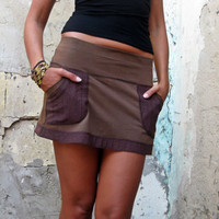 Mini skirt with lace pockets, brown mini skirt