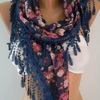Georgeus Scarf   Elegance Scarf   Feminine Scarf ....Dark blue  Pink flowered
