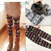 2502 Women Retro Knitted Warm Leggings Tights Snowflakes Warm Pants Multi-Colors