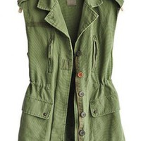 Lapel Sleeveless Green Vest  S001489