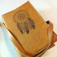 leather journal sketchbook handprinted for you custom dreamcatcher