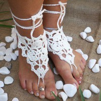 Soft ivory cream  lace barefoot  yasosandals by yasoknitting