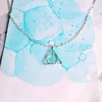 Deathly Hallows Necklace - Harry Potter Symbol - Small Silver Pendant &amp; chain