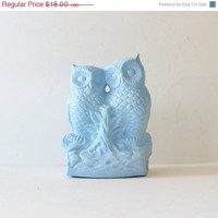 hello fall 20% off sale// Blue Owl Duo Upcycled Ceramic Figurine - Kitsch