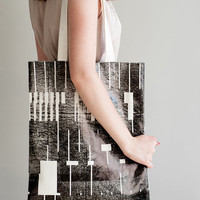 Everyday Canvas Tote Bag, screen printed, glossy black pattern, strong, Large, unisex, market bag. Hand made one of a kind