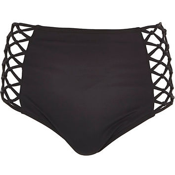 River Island Womens Black high waisted bikini bottoms