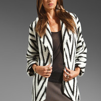 Alice + Olivia Lidell Oversized Wrap Jacket in Zag Black/White from REVOLVEclothing.com