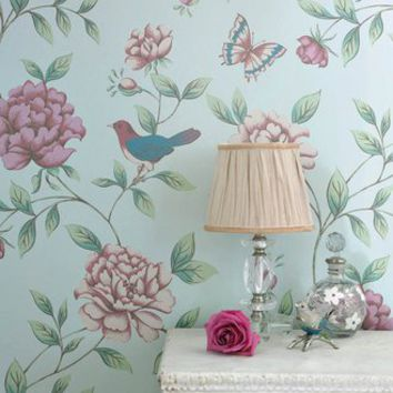 17869 Monsoon Isabelle : Blue Wallpaper Pink,Light Blue,Blue Floral,Trail Wallpaper