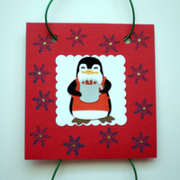 Whimsical Penguins Wall or Christmas Tree Decor