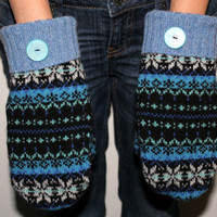 Felted Wool Mittens Made From Upcycled Wool Sweaters  Black, Blue -  Adult Size Medium