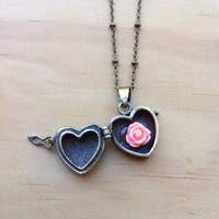 "Intricate ""Hope in the Heart"" Wish Box Locket with Rose Necklace"