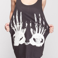 X-Ray Skull Shirt Handcuff Hand Bone Halloween Shirt Women Tank Top Black Shirt Tunic Top Vest Sleeveless Women T-Shirt Size S M