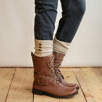 LouLou - Natural: Open-work Leg warmers with Rubbed Bronze Metal Buttons - Legwarmers (item no. 9-14)