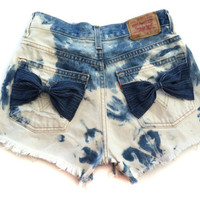 Vintage Levis HIGH WAISTED Bleached FRAYED Destroyed Cut Off Shorts with Bows Small