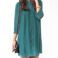 Pleated A-Line Shirtdress
